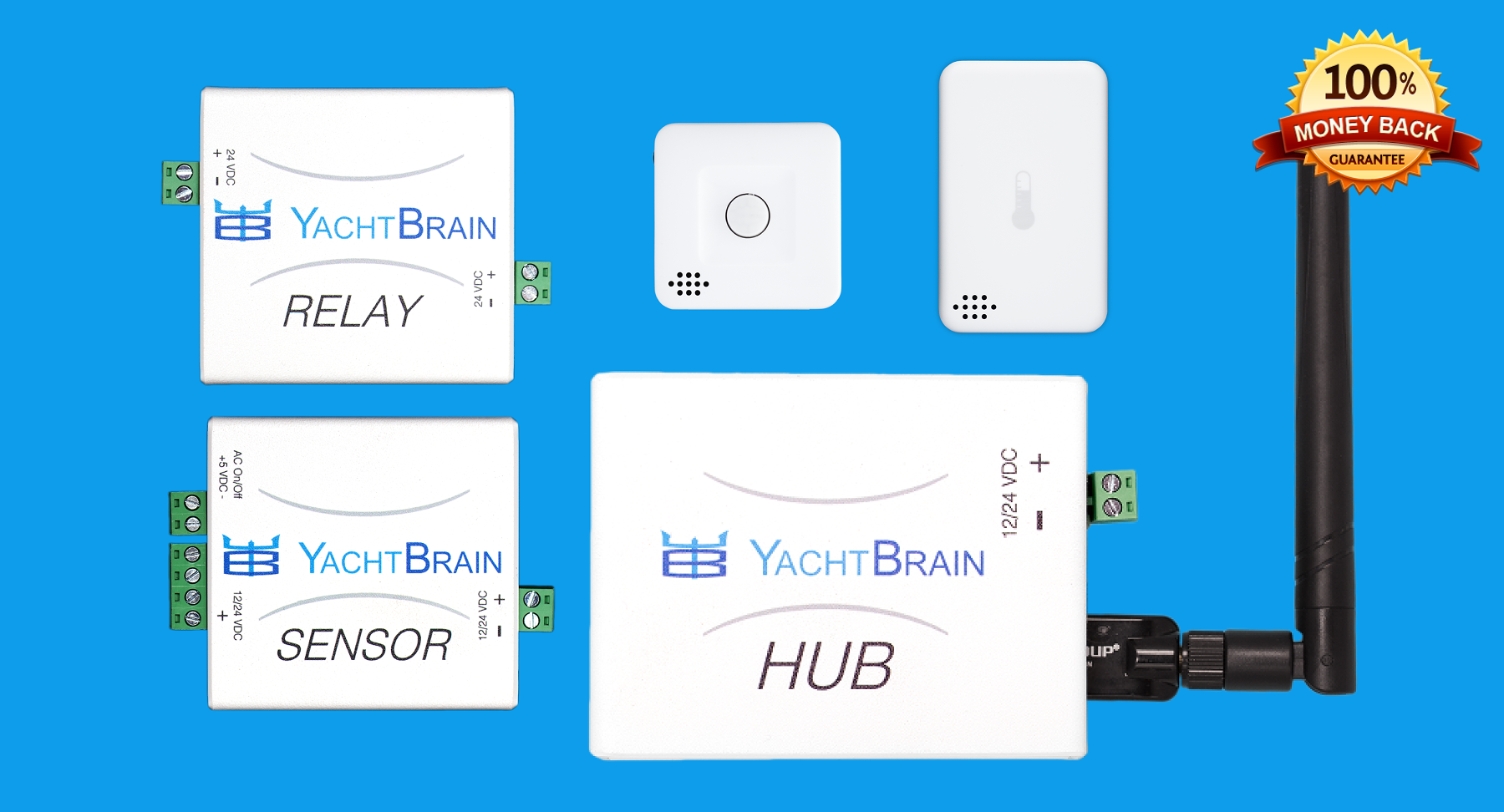 YachtBrain Hub + 4 Sensors or Relays Mix and Match